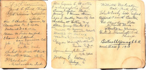 """End pages from a Science and Health signed by Elizabeth Norton's 1910 Normal classmates and teacher, Daystar Collection"""