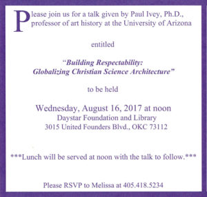 "PAST EVENT: ""Building Respectability: Globalizing Christian Science Architecture"""